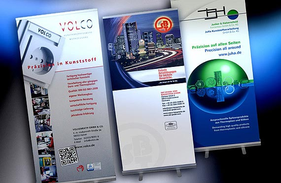 Roll-Up-Displays, Dienstleister, B2B.